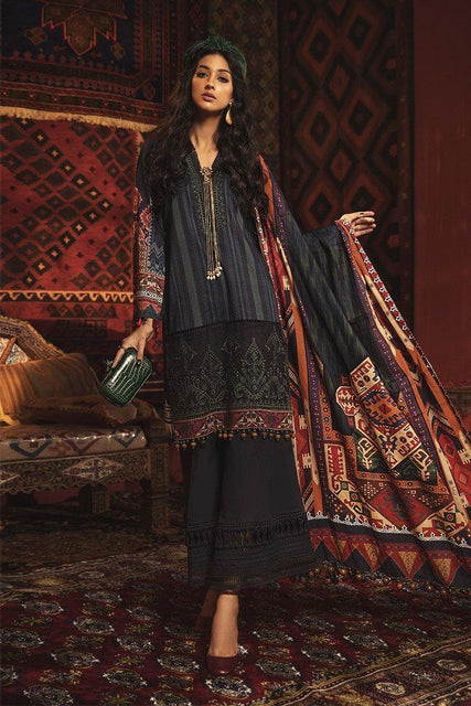 Maria. B Winter Collection Embroidered Cambric Unstitched 3 Piece Suit M.Prints - MPT-911-B - zapple.pk