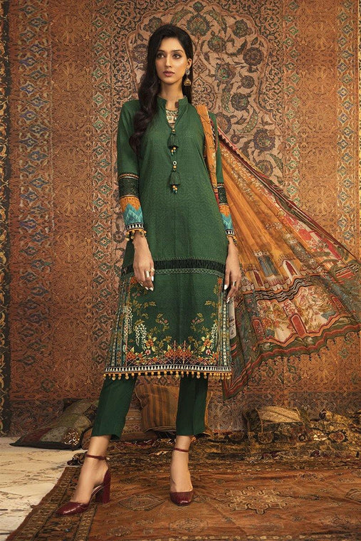 Maria. B Winter Collection Embroidered Khaddar Unstitched 3 Piece Suit M.Prints - MPT-906-A - zapple.pk