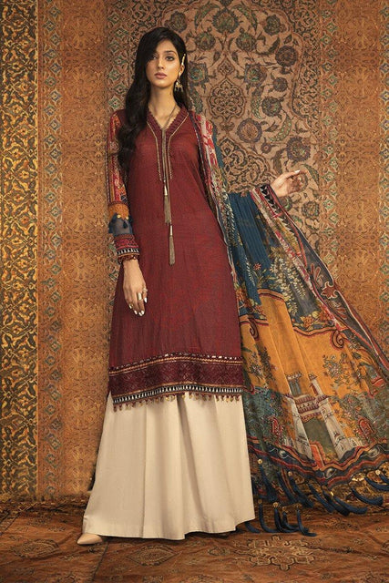 Maria. B Winter Collection Embroidered Khaddar Unstitched 3 Piece Suit M.Prints - MPT-906-B - zapple.pk