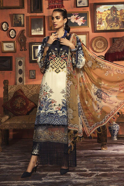 Maria. B Winter Collection Embroidered Linen Unstitched 3 Piece Suit M.Prints - MPT-901-B - zapple.pk