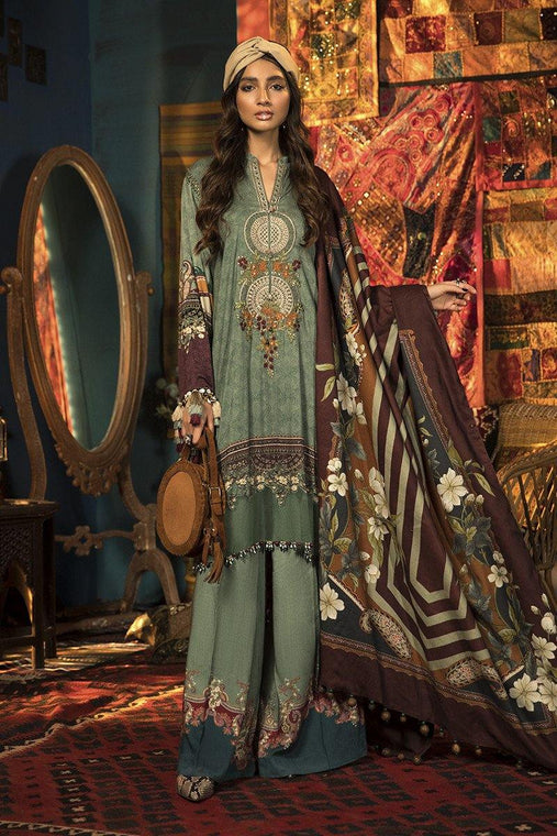 Maria. B Winter Collection Embroidered Linen Unstitched 3 Piece Suit M.Prints - MPT-910-A - zapple.pk