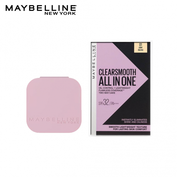 Maybelline Clear Smooth All in One Oil Control Powder Foundation 01 Light SPF32 PA+++ - Refill- 9g