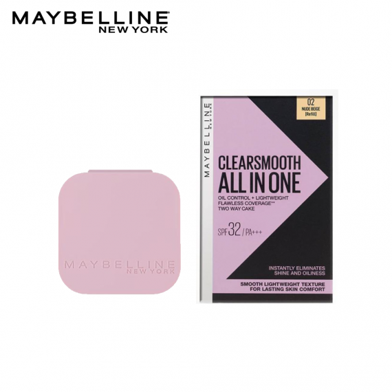 Maybelline Clear Smooth All in One Oil Control Powder Foundation 02 Nude Beige SPF32 PA+++ - Refill- 9g