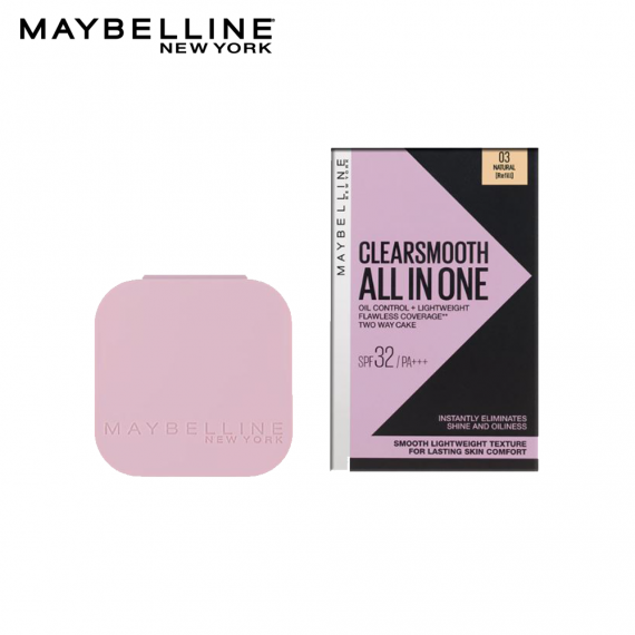 Maybelline Clear Smooth All in One Oil Control Powder Foundation 03 Natural SPF32 PA+++ - Refill- 9g - zapple.pk