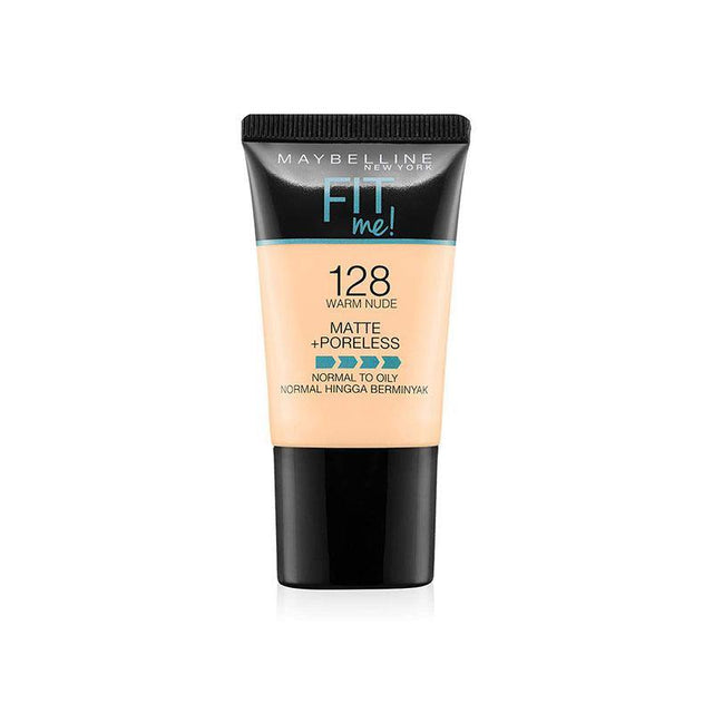 Maybelline Fit Me Liquid Foundation Matte & Poreless Tube18ml - 128 Warm Nude - zapple.pk