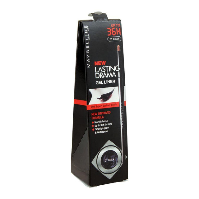 Maybelline New Lasting Drama Eye Gel Liner Upto 36H Noir Black - 01 Black - zapple.pk