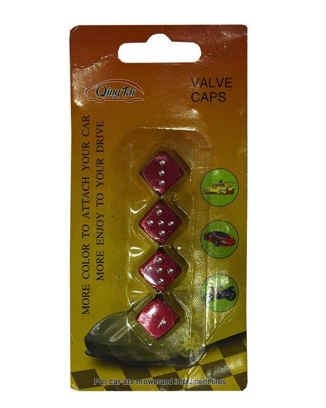 Aluminum Tyre Nozzle Caps Dice Shape-Red - zapple.pk