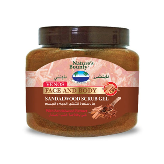 Nature's Bounty Venos Face And Body Sandalwood Scrub Gel With Sandalwood Extract - 300ml - zapple.pk