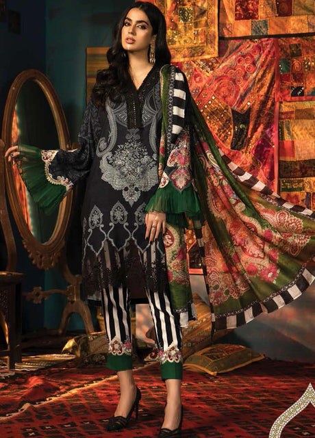 Maria. B Winter Collection Embroidered Linen Unstitched 3 Piece Suit M.Prints - MPT-5B - zapple.pk