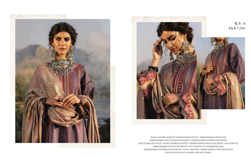 Qalamkar Luxury Shawl Winter Collection'20 Unstitched 3PC Suit - KS-06 - zapple.pk