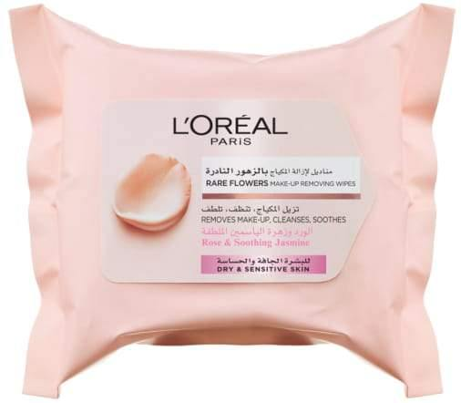 L'ORÉAL Paris Rare Flowers Cleansing Wipes - Dry and Sensitive Skin 25 pcs - zapple.pk