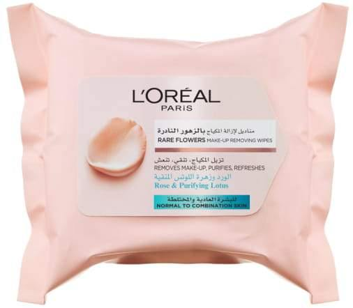 L'ORÉAL Paris Rare Flowers Cleansing Wipes - Normal to Combination Skin 25pcs - zapple.pk