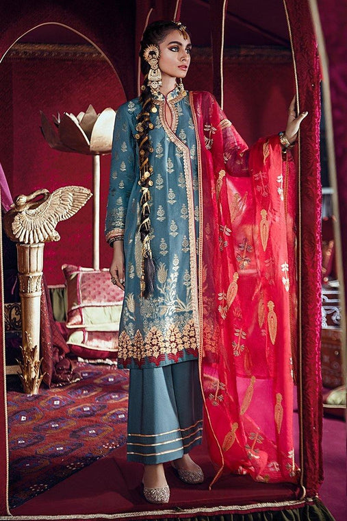 Razia Sultana by Cross Stitch Embroidered Jacquard 3 Piece Suit - BAAD-E CHAMAN-B 08 - zapple.pk