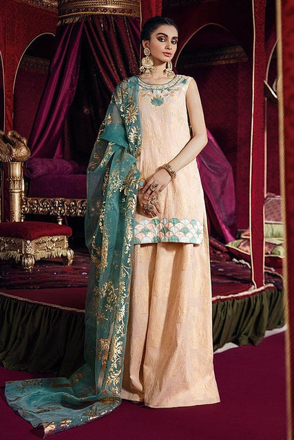 Razia Sultana by Cross Stitch Embroidered Jacquard 3 Piece Suit - BUSTAN-E GUL-A 11 - zapple.pk