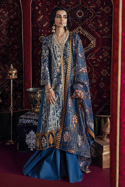 Razia Sultana by Cross Stitch Embroidered Jacquard 3 Piece Suit - DEEWAN-E KHAS-B 20 - zapple.pk
