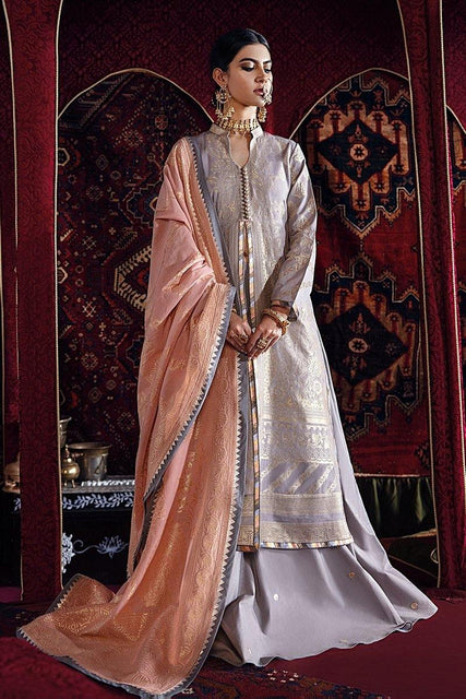 Razia Sultana by Cross Stitch Embroidered Jacquard 3 Piece Suit - MUMTAZ MAHAL-B 16 - zapple.pk