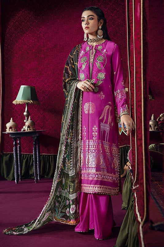 Razia Sultana by Cross Stitch Embroidered Jacquard 3 Piece Suit - SARAE HERAT-A 01