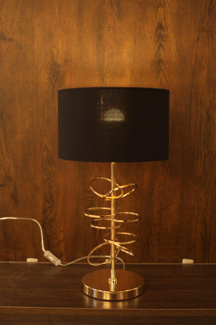 Modern Golden Plated, Ringed Decorative Table Lamp - TL03 - zapple.pk