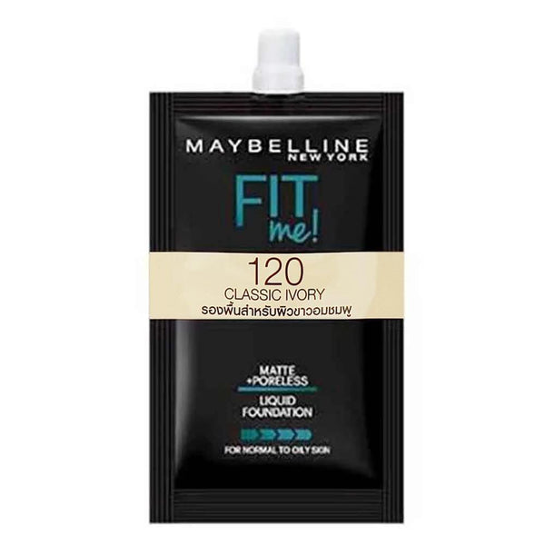Maybelline Fit Me Liquid Foundation Matte & Poreless 5ml - 120 Classic Ivory ( SACby6 ) - zapple.pk