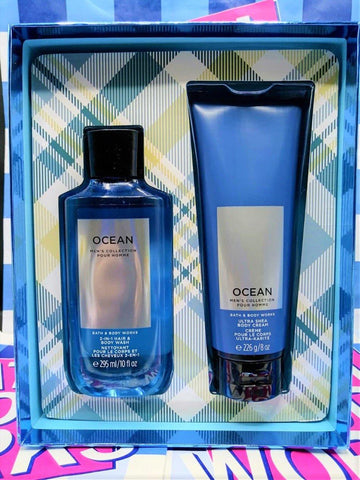 Bath & Body Works Men's Collection Ocean Ultra Shea Body Cream & 2 in 1 Hair and Body Wash - Gift Box - zapple.pk