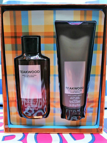 Bath & Body Works Men's Collection Teakwood Ultra Shea Body Cream & 2 in 1 Hair and Body Wash - Gift Box
