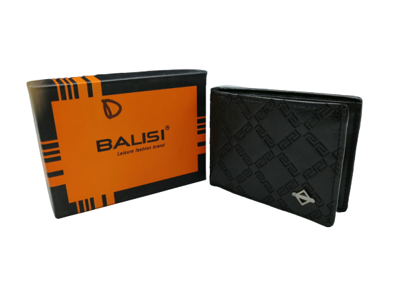 Balisi Black Texture Leather Wallet For Men - zapple.pk