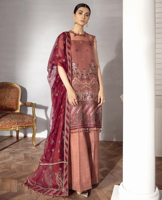 XENIA Rohtas Formal Wedding Edition Unstitched Embroidered Chiffon 3PC Suit - ARYAN 04 - zapple.pk