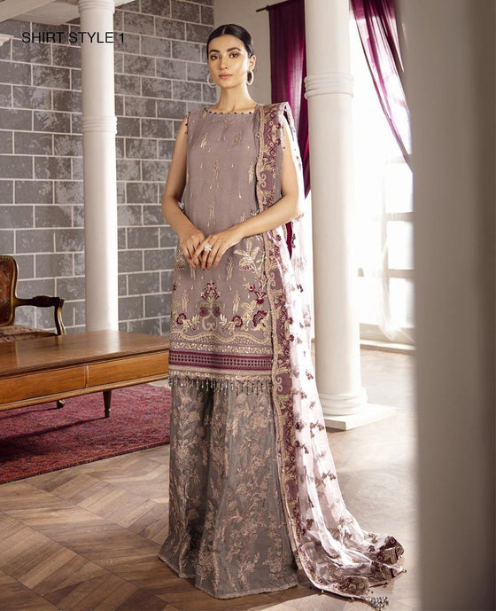 XENIA Rohtas Formal Wedding Edition Unstitched Embroidered Chiffon 3PC Suit - AZUL 08 - zapple.pk