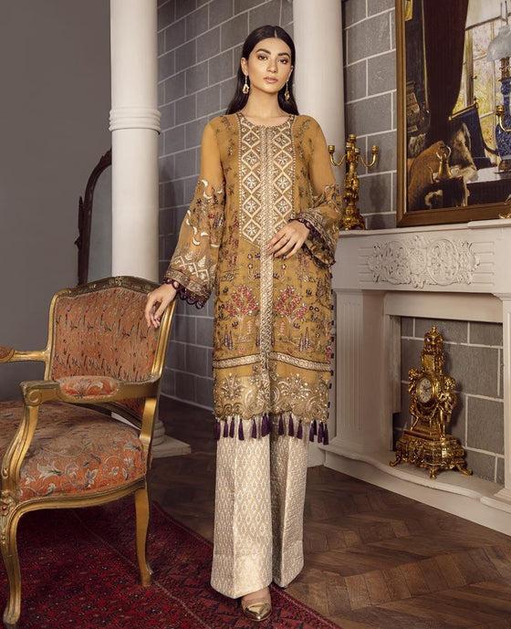 XENIA Rohtas Formal Wedding Edition Unstitched Embroidered Chiffon 3PC Suit - KIVYAA 05 - zapple.pk