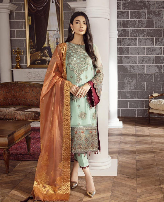XENIA Rohtas Formal Wedding Edition Unstitched Embroidered Chiffon 3PC Suit - KIYA 06 - zapple.pk