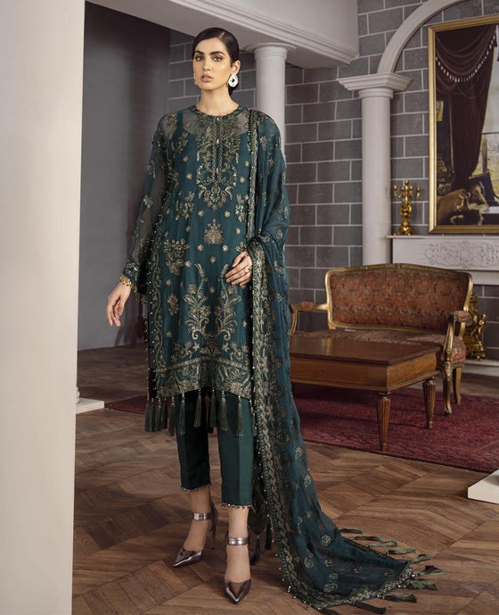 XENIA Rohtas Formal Wedding Edition Unstitched Embroidered Chiffon 3PC Suit - ROZA 07 - zapple.pk