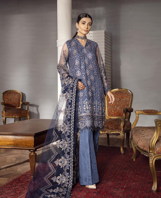 XENIA Rohtas Formal Wedding Edition Unstitched Embroidered Chiffon 3PC Suit - NITARA 02 - zapple.pk