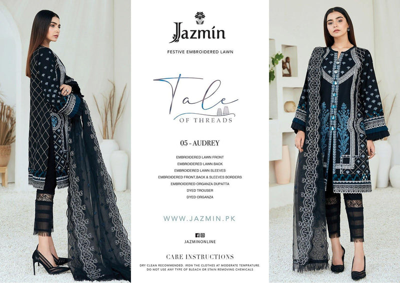 Jazmin Tale of Threads Festive Embroidered Lawn Collection - Audrey - zapple.pk