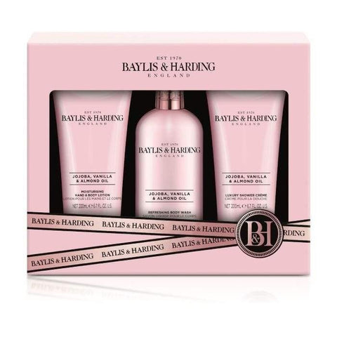 Baylis & Harding Jojoba, Vanilla & Almond Oil Gift Set - 3pc - zapple.pk