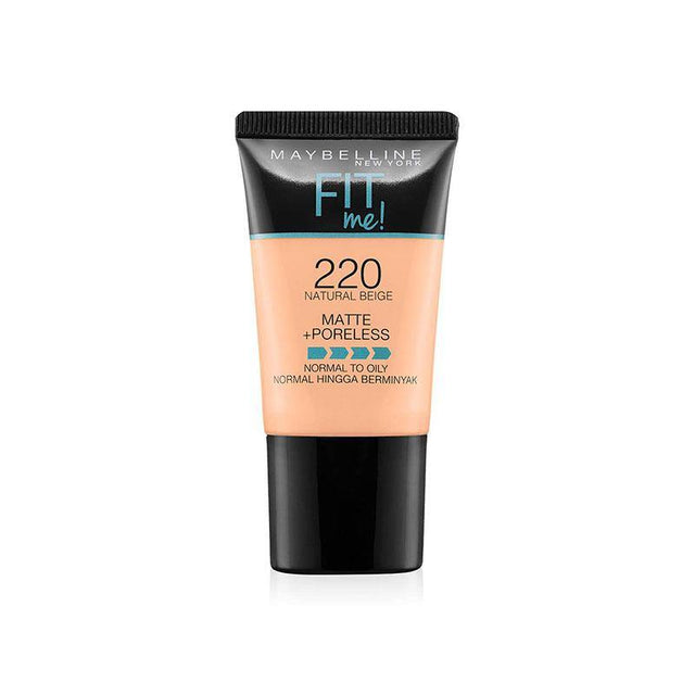 Maybelline Fit Me Liquid Foundation Matte & Poreless Tube18ml - 220 Natural Beige - zapple.pk