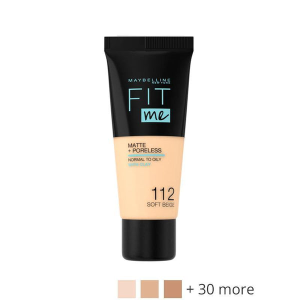 Maybelline Fit Me Liquid Foundation Matte & Poreless - 112 Soft Beige - zapple.pk