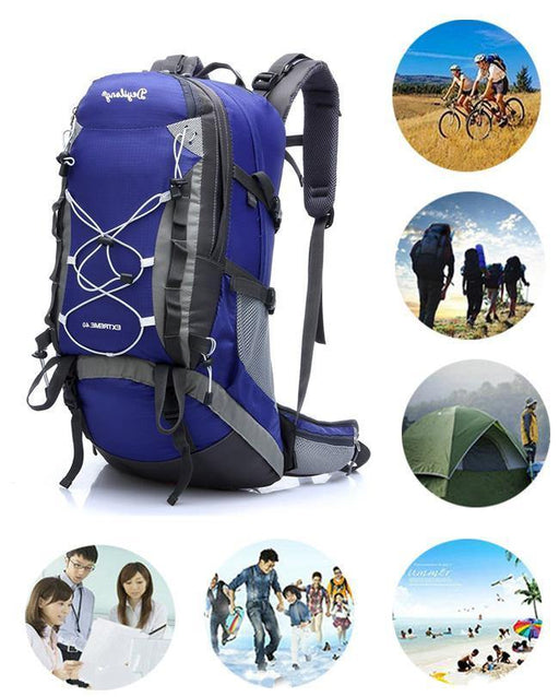 Outdoor Pro Sport Travel Leisure Backpack With Rain Cover - Blue - zapple.pk