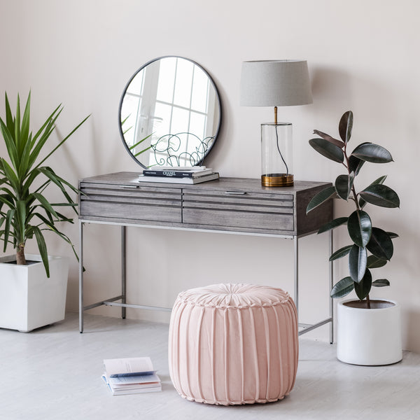 Marcel Pleated Cotton Velvet Pouf - Pink