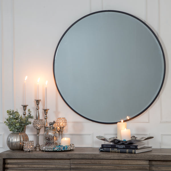 Asti Black Bevelled Round Mirror