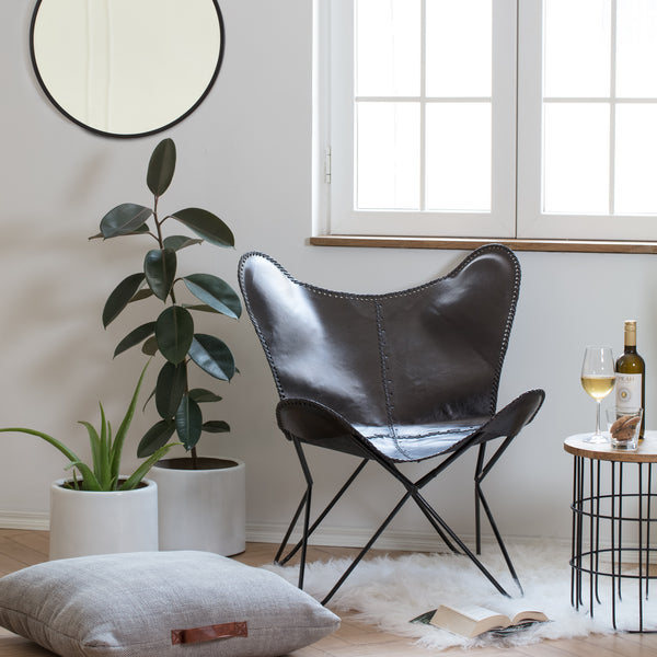 Cernay Iron Butterfly Chair With Black Leather