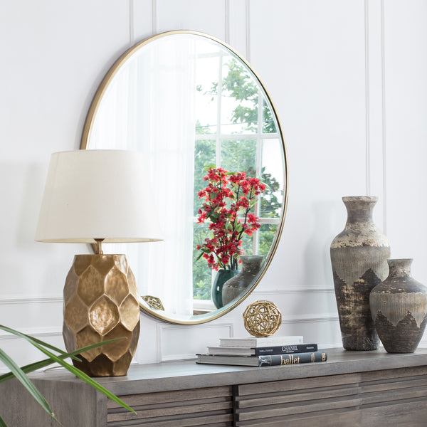 Asti Gold Bevelled Round Mirror