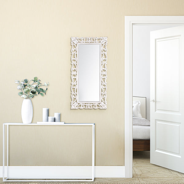 Passo White Carved Mirror