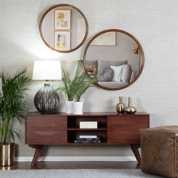 Marlo Modern Mirror With Brass Inlay - Walnut