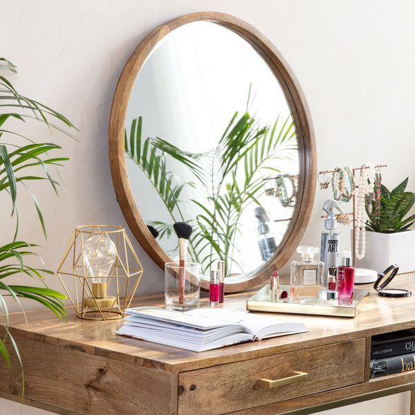 Stewart Modern Bevelled Wall Mirror - Natural Wood