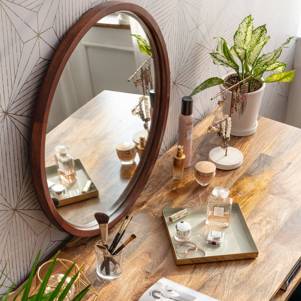 Stewart Modern Bevelled Wall Mirror - Walnut