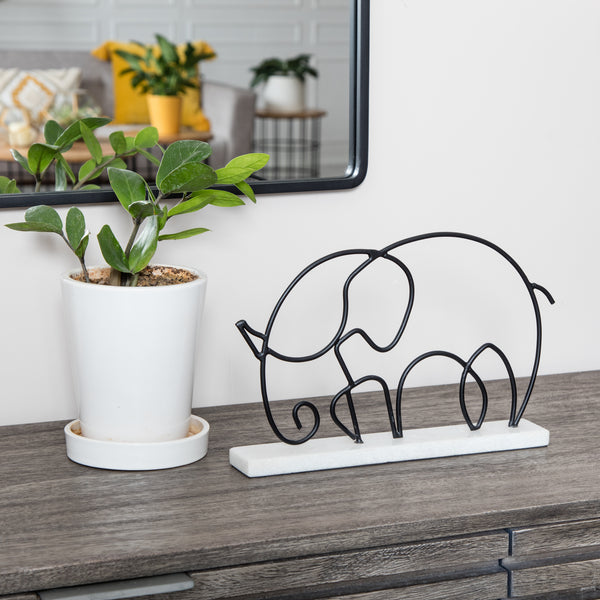 Eder Wire Elephant Figurine with Marble Base
