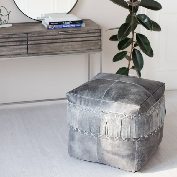 Fenton Genuine Leather Pouf With Frills - Grey