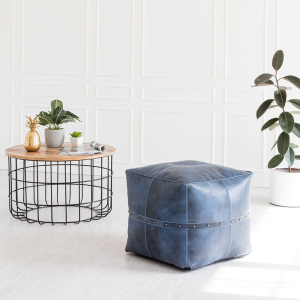 Langley Genuine Leather Pouf With Rivets - Indigo