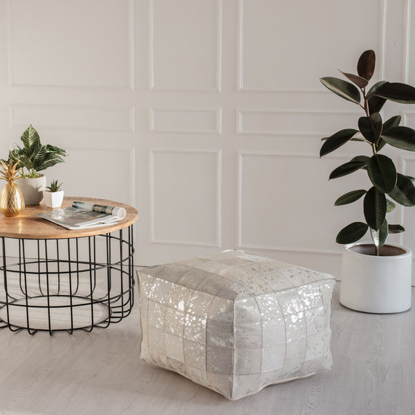 Carrie Genuine Hairon Silver Foil Pouf - Square