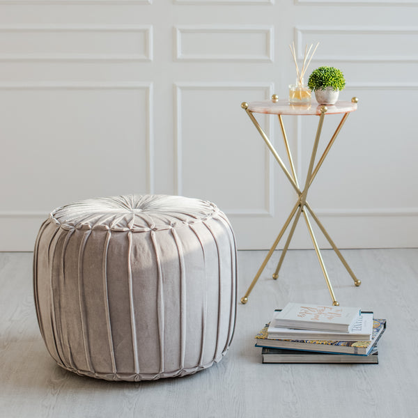 Marcel Pleated Cotton Velvet Pouf  - Grey